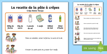Illustrated Crêpe Batter Recipe Poster A4 Display Poster French - crepe, batter, recipe, poster, french, vocabulary, illustrated