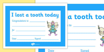I Lost a Tooth Certificate - I lost a tooth, teeth, tooth, certificate, award