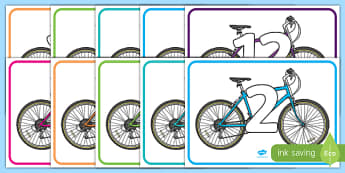 Skip Counting in 2s Bikes Display Posters