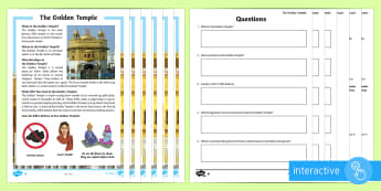 The Golden Temple Differentiated Comprehension Go Respond Activity Sheets - KS2, religion, gurdwara, Guru Granth Sahib, guru, Golden Temple, worship, sacred, yatra, Amrit Saras
