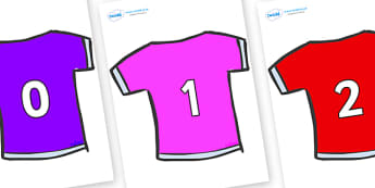 Numbers 0-50 on T-Shirts - 0-50, foundation stage numeracy, Number recognition, Number flashcards, counting, number frieze, Display numbers, number posters