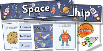Space Topic Display Pack - space, display pack, display banner, display photos, display, resource pack, display lettering, resources, classroom display