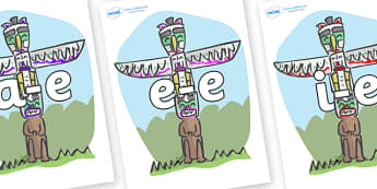 Modifying E Letters on Totem Poles - Modifying E, letters, modify, Phase 5, Phase five, alternative spellings for phonemes, DfES letters and Sounds