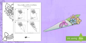 Modelo de papel: Ramo de flores - Día de la Madre - día de la madre, día de las madres, santa maría, día de maría, ramo, flores, manualidad, modelo