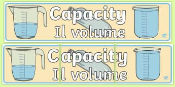 Capacity Display Banner English/Italian - Capacity Display Banner - displays, banners, measure, visual aid, capactiy, capasity, capcity, capac