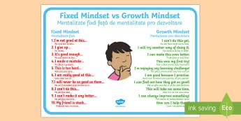 Fixed Mindset vs Growth Mindset Display Poster Romanian/English - Fixed Mindset vs Growth Mindset KS1 A4 - fixed, mindset, growth, ks1,growth minset, EAL