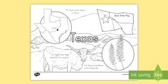 Texas State Facts Coloring Page - States and Capitals, USA States, US States, United States, US Capitals, USA Capitals, US Capital Cit