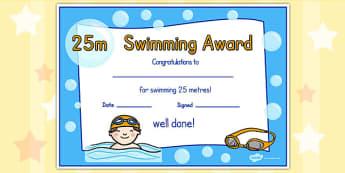 25m Swimming Certificate - swimming, certificate, 25m, awards