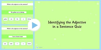 Identifying an Adjective in a Sentence SPaG Grammar PowerPoint