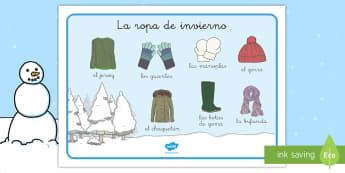 Tapiz de vocabulario: La ropa de invierno - tapiz de vocabulario, vocabulario, ropa, prendas, invierno, estaciones, estación,Spanish