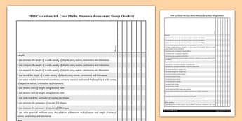 1999 Curriculum 4th Class Maths Measures Assessment Group Checklist - roi, gaeilge, maths, curriculum, 1999