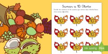 Ficha de actividad: Sumas hasta diez - Otoño - sumas, sumar, hasta 10, hasta diez, diez, enlaces numéricos, adición, mates, matemáticas, otoño,