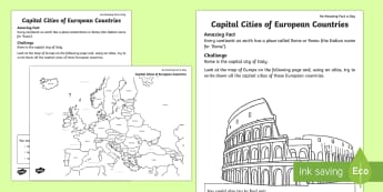 Capital Cities of Europe Activity Sheet - Amazing Fact Of The Day march, activity sheets, powerpoint, starter, morning activity, March, capita