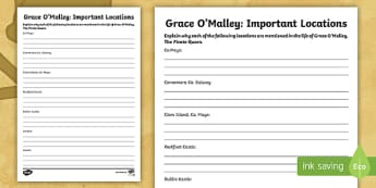 Grace O'Malley Important Locations Activity Sheet - Grace O'Malley, The Pirate Queen, Gráinne Mhaol, Ireland, story, SESE,Irish