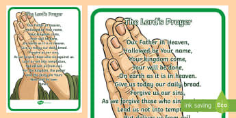 The Lord's Prayer Display Posters - The Lord's Prayer Display Posters - Church, Christian, Lord's prayer, prayer, God Jesus, display b