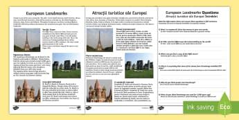 Europe Landmarks Reading Comprehension Activity English/Romanian  - Europe Landmarks Reading Comprehension Activity - geography, continent, comprehesion, comprehnsion,