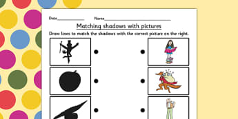 Roald Dahl Themed Shadow Matching Worksheet - match, stories