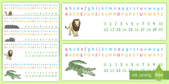Animal Themed Number and Alphabet Strips - Roald Dahl Combined Number Alphabet Strips - number strip, alphabet strip, roald dahl, combined numb