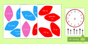 Analog Clock Flower Labels Activity - petals, time, math, display, hour, minute, o'clock, past, quarter, half