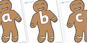 Phoneme Set on Gingerbread Men - Phoneme set, phonemes, phoneme, Letters and Sounds, DfES, display, Phase 1, Phase 2, Phase 3, Phase 5, Foundation, Literacy