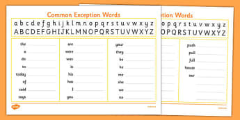 Handwriting Strip With Year 1 Common Exception Words Practice - handwriting, hand writing, letter, formation, practise, practising, letters, words, common, tricky, ks1, key stage 1, y1, y 1, write, learn, 2014, curriculum