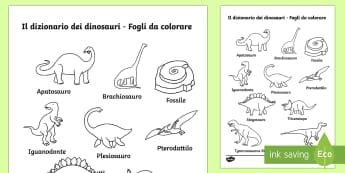 Il Dizionario dei Dinosauri Fogli da Colorare - dinosauri, dino, dinosauro, fogli, da, colorare, dizionario, vocaboli, italiano, italian