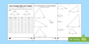 Year 6 Draw Triangles Activity Sheets - Draw 2D shapes using given dimensions and angles, triangles, side, sides, angle, angles, Year 6, Y6,