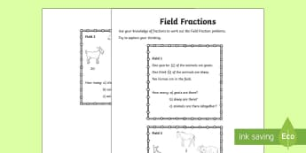 Field Fractions Activity - Northern Ireland, Balmoral Show, 10th-13th May, Farming, Agriculture, Key Stage 2, fractions, proble