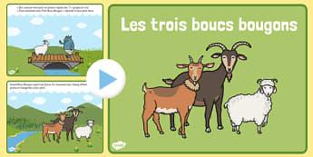 PowerPoint : Les Trois Boucs bougons - cycle 1, cycle 2, lecture, histoire, compréhension écrite, français, Les Trois Boucs bougons, conte, PowerPoint, diaporama