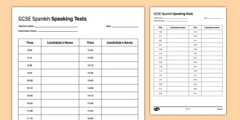 GCSE Spanish Speaking Test Timetable Template - GCSE, Speaking Exam, Test, Timetable, Template, Schedule, Admin