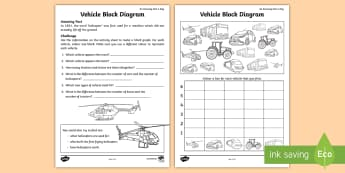 Vehicle Block Diagram Activity Sheet - amazing fact august, KS1, Amazing Fact, maths, data, statistics, transport, worksheet