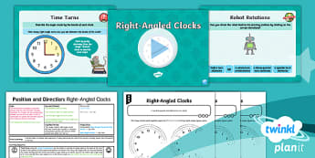 PlanIt Y2 Position and Direction Lesson Pack Turns, Rotations and Right Angles (1) - Geometry, turn, angle, rotation, right angle, o'clock, half past, quarter past, quarter to, clockw