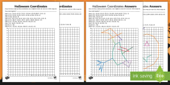 KS2 Halloween Coordinates Activity Pack - Pumpkin, Witch, Cobweb, Bat, Spider
