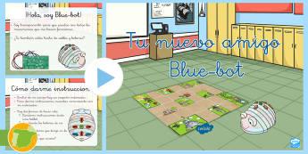 Introducción al uso de Blue-bot en el aula PowerPoint - TIC, blue-bot, robot, robótica, ordenadores, informática, algoritmo, cuadrícula, instrucciones, p