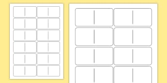 Blank Domino Template - dominoes, games, classroom games, game, Domino, blank, number, subatising, numeral identification, numeracy, numbers, counting, sibitising, number game