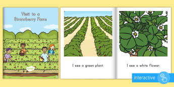 Visit to a Strawberry Farm Emergent Reader eBook - strawberries, strawberry plants, strawberry farming, strawberry picking, strawberry plant life cycle