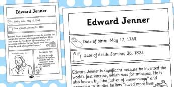 Edward Jenner Significant Individual Fact Sheet - fact, sheet