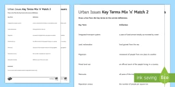 Urban Issues Mix and Match 2 Activity Sheet - Urban Issues and Challenges AQA GCSE, match, worksheet, key terms