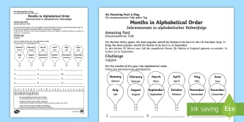 Months in Alphabetical Order Activity Sheet - English/German - Amazing Fact Of The Day, activity sheets, powerpoint, starter, morning activity, november, EAL, Germ