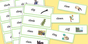CL Word Cards - cl, word cards, word, cards, sen, sounds, cl sound, speech, language