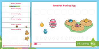 Brenda's Boring Egg Pencil Control Activity Sheets - twinkl originals, fiction, KS1, EYFS, handwriting, fine motor skills, writing control, the ugly duck