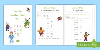 Stage 7 Number Knowledge Quest Maths Activity Booklet - Number Knowledge Quest Booklets, basic facts, nz maths, stage 7 maths, year 7 maths, year 6 maths, n