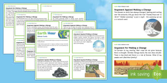 Earth Hour Debate Challenge Cards - Earth Hour, debate, Australia, climate change, climate, environment, global issues, environmentally,