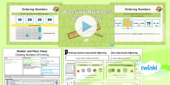 PlanIt Y2 Number and Place Value Ordering Numbers (2) Lesson Pack - order, compare, sort, Different representations, Concrete Pictorial Abstract, maths, year 2, year tw