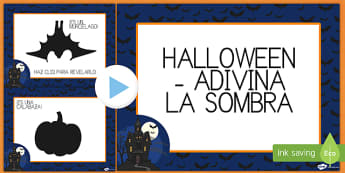 Halloween Guess the Shadow PowerPoint Spanish - halloween, presentation, whole, class, pronounciation, group, revise