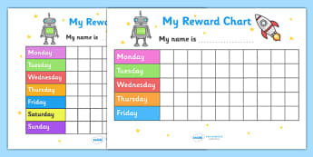 My Reward Chart (Space) - my reward chart, space, chart, reward, well done, certificate, award, school, general, space themed, rocket, astronaut