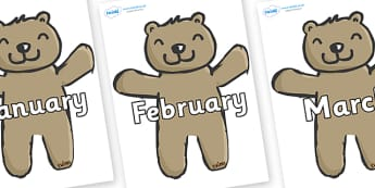 Months of the Year on Teddy Bears - Months of the Year, Months poster, Months display, display, poster, frieze, Months, month, January, February, March, April, May, June, July, August, September