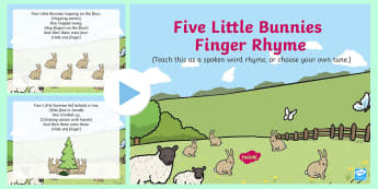 Five Little Bunnies Song PowerPoint - EYFS, Early Years, Key Stage 1, KS1, spring, seasons, weather, rabbit, Easter, songs, music.