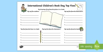 International Children's Book Day Top 5s Activity - International Children's Book Day, books, reading, book day, world book day