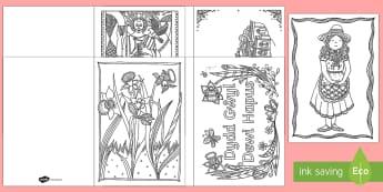 St. David's Day Mindfulness Colouring Cards - St David's Day, st david day, st davids day, saint david, dydd gwyl dewi, gwyl dewi.,Welsh